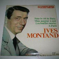 Discos de vinilo: IVES MONTAND SOUS LE CIEL DE PARIS (1964 DISCOPHON EP) JACQUES BREL GEORGES BRASSENS AZNAVOUR. Lote 28293690