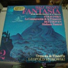 Discos de vinilo: LP DE WALT DISNEY. FANTASIA. BANDA SONORA ORIGINAL DE LA PELICULA. STRAVINSKY, BEETHOVEN.. Lote 28347092