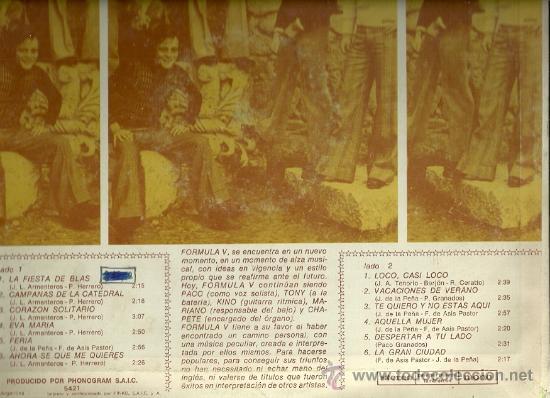 Discos de vinilo: FORMULA V LP SELLO PHILIPS EDITADO EN ARGENTINA. - Foto 2 - 28368620