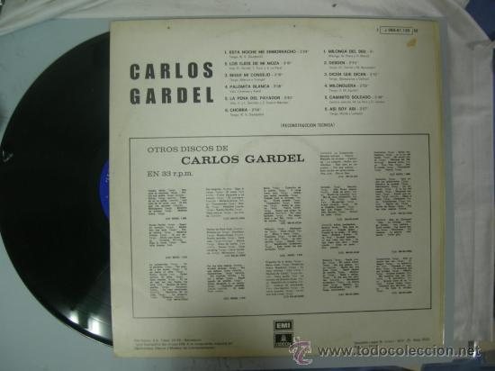 Discos de vinilo: LP CARLOS GARDEL - ESTA NOCHE ME EMBORRACHO - TANGO - 1972 - Foto 2 - 28419597