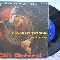 Discos de vinilo: CLIFF RICHARD: EUROVISIÓN 1968- CONGRATULATIONS. Lote 28536099
