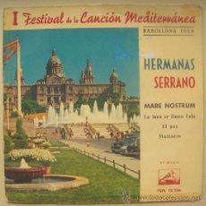 Discos de vinilo: HERMANAS SERRANO EP SPAIN 1959 LA VOZ DE SU AMO 13336 - FESTIVAL DEL MEDITERRANEO - MARE NOSTRUM. Lote 28547186