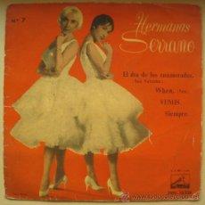 Discos de vinilo: HERMANAS SERRANO EP SPAIN 1958 EL DIA DE LOS ENAMORADOS - WHEN - LA VOZ DE SU AMO 13358. Lote 28547354