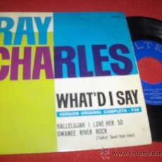 """Disques de vinyle: RAY CHARLES WHAT'D I SAY / HALLELUJAH I LOVE HER SO ..+1 7"""" EP 1963 BELTER EDICION ESPAÑOLA. Lote 28607844"""