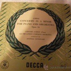 Discos de vinilo: LP GRIEG CONCIERTO EN A MENOR PARA PIANO Y ORQUESTA. Lote 28616832