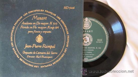MOZART - ANDANTE EN DO MAYOR / RONDÓ EN RE MAYOR PARA FLAUTA Y ORQUESTA - JEAN PIERRE RAMPAL (Música - Discos - Singles Vinilo - Clásica, Ópera, Zarzuela y Marchas)