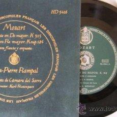 Discos de vinilo: MOZART - ANDANTE EN DO MAYOR / RONDÓ EN RE MAYOR PARA FLAUTA Y ORQUESTA - JEAN PIERRE RAMPAL. Lote 28639737