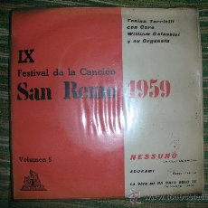 Discos de vinilo: TONINA TORRIELLI - NESSUNO -IX FESTIVAL DE SAN REMO - CETRA 1959 - ORIGINAL ESPAÑA. Lote 28722338