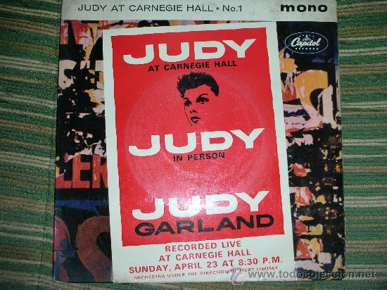 JUDY GARLAND EP-JUDY AT CARNEGIE HALL Nº 1 EN MONO- ORIGINAL INGLES CAPITOL 1961. (Música - Discos de Vinilo - EPs - Bandas Sonoras y Actores)