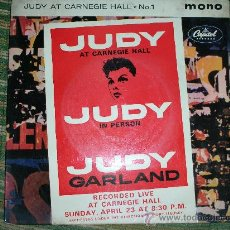 Discos de vinilo: JUDY GARLAND EP-JUDY AT CARNEGIE HALL Nº 1 EN MONO- ORIGINAL INGLES CAPITOL 1961.. Lote 28722576