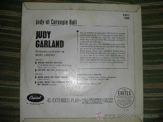 Discos de vinilo: JUDY GARLAND EP-JUDY AT CARNEGIE HALL Nº 1 EN MONO- ORIGINAL INGLES CAPITOL 1961. - Foto 3 - 28722576