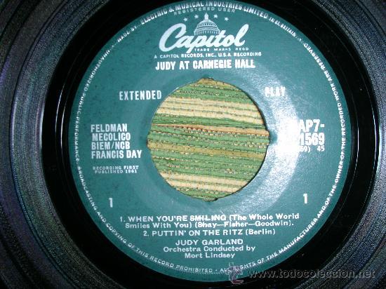 Discos de vinilo: JUDY GARLAND EP-JUDY AT CARNEGIE HALL Nº 1 EN MONO- ORIGINAL INGLES CAPITOL 1961. - Foto 2 - 28722576