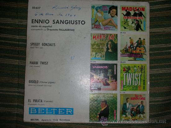Discos de vinilo: ENNIO SANGIUSTO EP - SPEEDY GONZALES - BELTER 1962 DISCO MUY NUEVO (5). - Foto 3 - 51015654