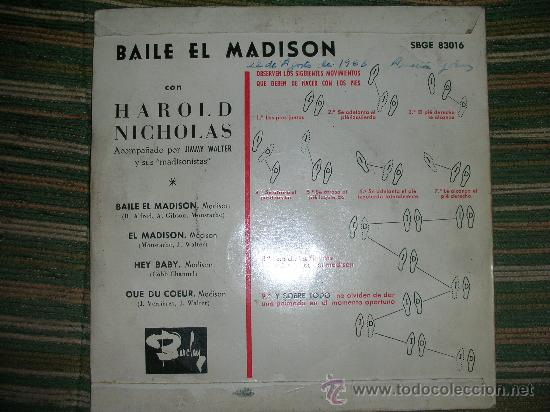 Discos de vinilo: HAROLD NICHOLAS EP - BAILE EL MADISON - ORIGINAL ESPAÑA - BARCLAY 1962 MONO. - Foto 2 - 28721499