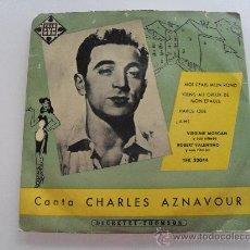 Discos de vinilo: CHARLES AZNAVOUR - MOI J'FAIS MON ROND + 3 EP 1958. Lote 28720544