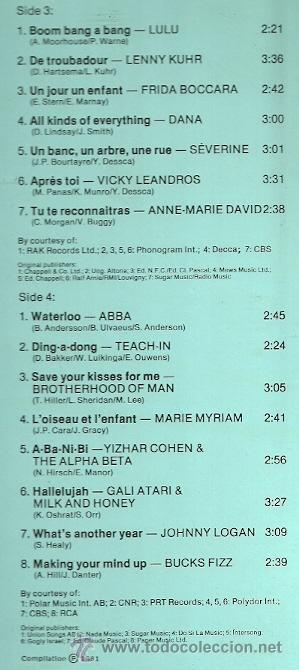 Discos de vinilo: EUROVISION GALA LP DOBLE (2 DISCOS) EDITA DO EN ESPAÑA AÑO 1981 - Foto 3 - 28722693