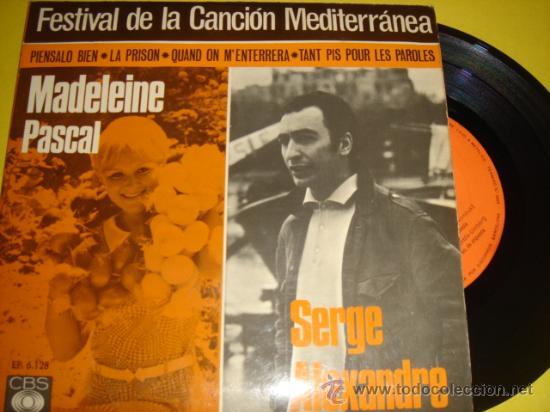 FESTIVAL CANCIÓN MEDITERRÁNEA -EP- DADELEINE PASCAL, SERGE ALEXANDRE, JM PLANES, JEAN DANIAL (Música - Discos de Vinilo - EPs - Otros Festivales de la Canción)
