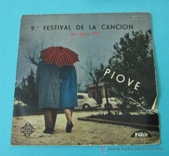 PIOVE - DOMENICO MODUGNO. 9º FESTIVAL DE LA CANCIÓN DE SAN REMO 1959 (Música - Discos - Singles Vinilo - Otros Festivales de la Canción)
