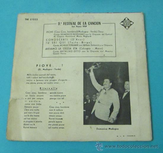 Discos de vinilo: PIOVE - DOMENICO MODUGNO. 9º FESTIVAL DE LA CANCIÓN DE SAN REMO 1959 - Foto 2 - 28781298