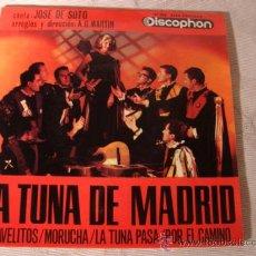 Discos de vinilo: DISCO SINGLE - LA TUNA DE MADRID, CLAVELITOS, MORUCHA, POR EL CAMINO Y LA TUNA PASA, AÑO 1963.. Lote 28870573