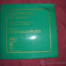 Discos de vinilo: BEETHOVEN MISA SOLEMNE OTTO KLEMPERER LP DOBLE 1975 SPA MARTER. Lote 28879389