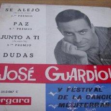 Discos de vinilo: JOSE GUARDIOLA. V FESTIVAL DE LA CANCION MEDITERRANEA. SE ALEJO. EP. VERGARA 1963. VINILO IMPECABLE. Lote 28908606