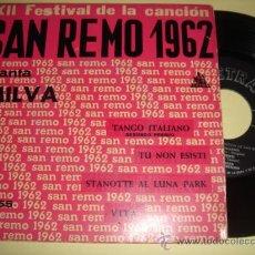 Discos de vinilo: MILVA -EP- TANGO ITALIANO + 3 - FESTIVAL SAN REMO 1962. Lote 28947337