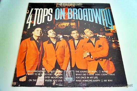 LP FOUR TOPS ON BROADWAY ORIGINAL MOTOWN 1965 DISCO Y PORTADA VG+ MUY RARO (Música - Discos - LP Vinilo - Pop - Rock Extranjero de los 50 y 60)