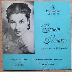 Discos de vinilo: GRACIA MONTES. UNA ROSA COLORÁ. COPLA CANCION ESPAÑOLA. Lote 29007780