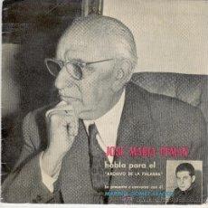 Discos de vinilo: JOSE MARIA PEMAN - HABLA PARA EL ARCHIVO DE LA PALABRA - EP 1961. Lote 29040281