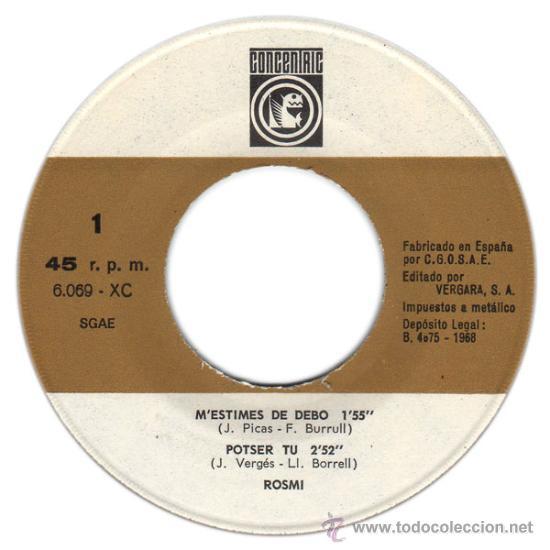 Discos de vinilo: ROSMI – M'ESTIMES DE DEBO – EP SPAIN 1965 – CONCENTRIC 6069 - Foto 2 - 29153387