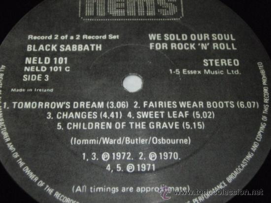 Discos de vinilo: BLACK SABBATH ( WE SOLD OUR SOUL FOR ROCK N ROLL ) DOBLE LP33 ENGLAND-1982 NEMS - Foto 6 - 29156814