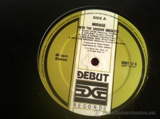 MIRAGE - INTO THE GROOVE (MADONNA MEDLEY) .MAXI SINGLE, DEBUT RECORDS UK 1995 (Música - Discos de Vinilo - Maxi Singles - Disco y Dance)