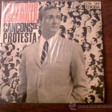 Discos de vinilo: SINGLE SALVADOR ESCAMILLA-CANÇONS DE PROTESTA-EDIGSA 1966. Lote 29276830