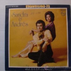Discos de vinilo: SANDRA&ANDRES WHAT DO I DO EUROVISION SINGLE PHILIPS 1972 MUY BIEN. Lote 29282953