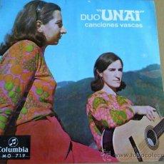 Discos de vinilo: DUO UNAI CANCIONES VASCAS SINGLE COLUMBIA 1969. Lote 33055751