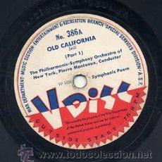 Discos de vinilo: WAR DEPARTMENT USA - 78 R.P.M. 12 PULGADAS Nº 386 / OLD CALIFORNIA (VER CARA B). Lote 29324205