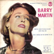 Discos de vinilo: BARRY MARTIN - WHY´D I HAVE TO FALL IN LOVE WITH YOU FOR + 1 (SINGLE A 33 RPM) RCA 1961 - PROMO!. Lote 29330857