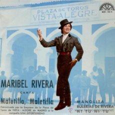 Discos de vinilo: MARIBEL RIVERA - MALETILLA, MALETILLA +3 / EP 1966 DE LA CAMPAÑA : UNA OPORTUNIDAD / EX-EX. Lote 29335192