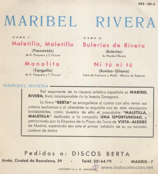 Discos de vinilo: MARIBEL RIVERA - MALETILLA, MALETILLA +3 / EP 1966 DE LA CAMPAÑA : UNA OPORTUNIDAD / EX-EX - Foto 2 - 29335192