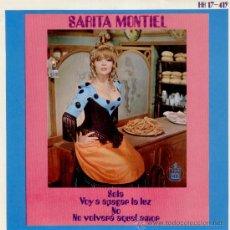 Discos de vinilo: SARITA MONTIEL - SOLA / VOY A APAGAR LA LUZ / NO / NO VOLVERA AQUEL AMOR / EP 1969 EX-EX. Lote 29335248