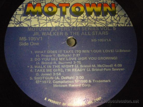 Discos de vinilo: JR. WALKER & THE ALLSTARS ' SUPERSTAR SERIES VOLUME 5 ' CALIFORNIA-USA 1972 LP33 MOTOWN - Foto 3 - 29355022