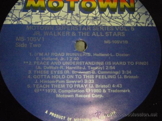 Discos de vinilo: JR. WALKER & THE ALLSTARS ' SUPERSTAR SERIES VOLUME 5 ' CALIFORNIA-USA 1972 LP33 MOTOWN - Foto 4 - 29355022