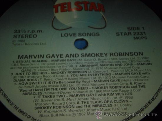 Discos de vinilo: MARVIN GAYE & SMOKEY ROBINSON ' LOVE SONGS ' ENGLAND - 1988 LP33 TELSTAR RECORDS - Foto 3 - 29355076
