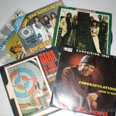 Discos de vinilo: CLIFF RICHARD DANA,NEW SEEKERS BROTHERHOOD OF MAN BUCKS FIZZ LOTE 5 SINGLES AUROVISION VER + OFERTA. Lote 29377510