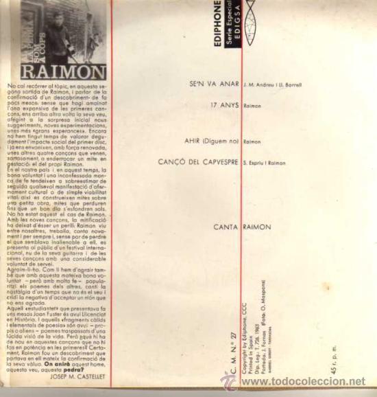 Discos de vinilo: SINGLE - RAIMON - SEN VA ANAR - 1 PREMIO DEL FESTIVAL DE LA CANÇÓ MEDITERRÀNIA - Foto 2 - 29391329