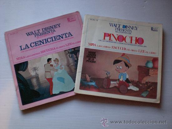 CUENTOS LA CENICIENTA Y PINOCHO LOTE 2 DISCO CON LIBRO ILUSTRADO 18 PAGINAS AÑO 1967 VER MAS DETALL (Música - Discos - LPs Vinilo - Música Infantil)