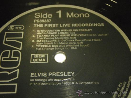 Discos de vinilo: Elvis Presley – The First Live Recordings, Europe 1984 RCA - Foto 3 - 29412287