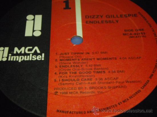 Discos de vinilo: DIZZY GILLESPIE ENDLESSLY THIS ALBUM IS DEDICATED TO MRS LORRAINE GILLESPIE CANADA 1988 - Foto 3 - 29442131