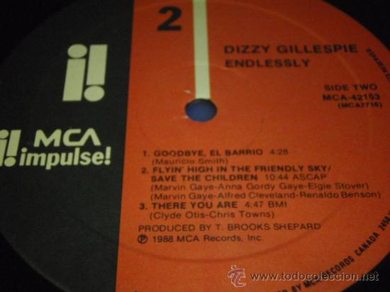 Discos de vinilo: DIZZY GILLESPIE ENDLESSLY THIS ALBUM IS DEDICATED TO MRS LORRAINE GILLESPIE CANADA 1988 - Foto 4 - 29442131